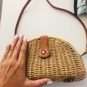 Handbags - Semi circle woven straw bag